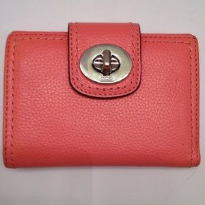 COACH salmon pink pebbled leather wallet